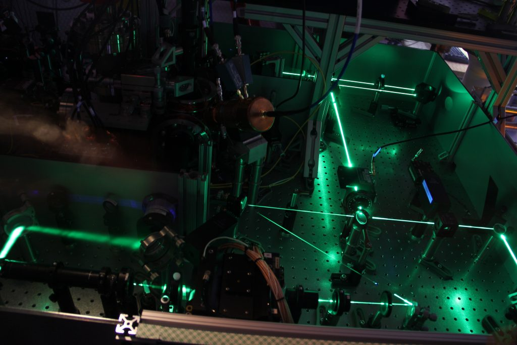 Green lasers bouncing between mirrors on a table