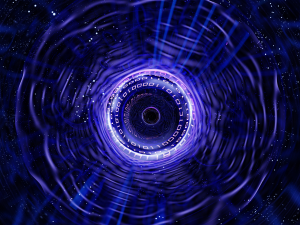 Stylized image of binary arranged in a black hole