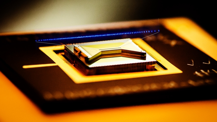 A closeup view of a surface ion trap used in the quantum computing technology being pursued by Duke researchers
