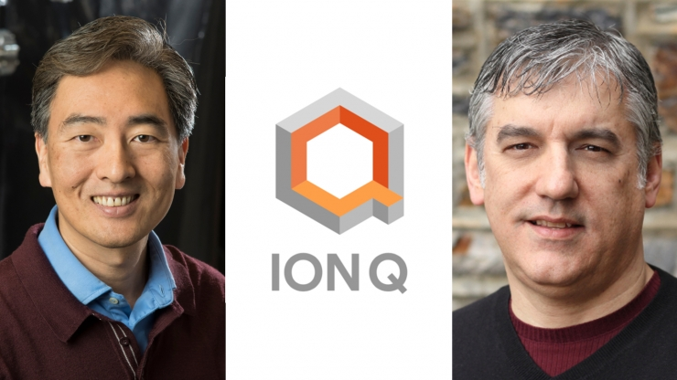 Two headshots and the IonQ logo